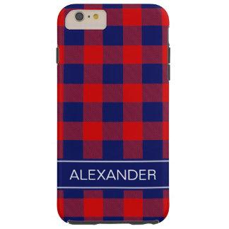 赤い濃紺のバッファローの点検の格子縞の名前のモノグラム TOUGH iPhone 6 PLUS ケース
