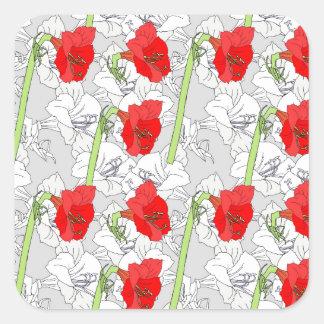 赤い灰色のアマリリス スクエアシール