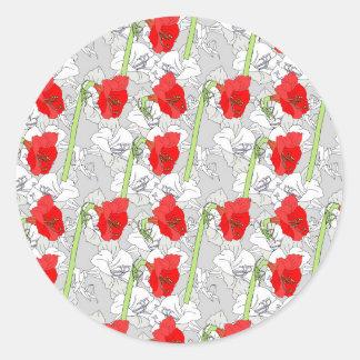 赤い灰色のアマリリス ラウンドシール