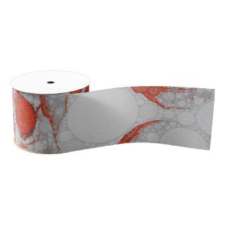 赤い灰色のスカル グログランリボン