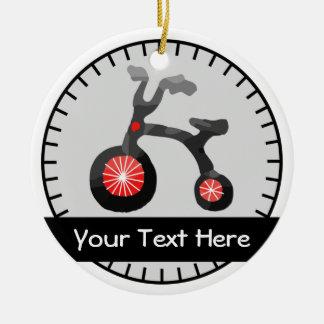 赤い灰色の子供の自転車の名前入りな陶磁器のオーナメント セラミックオーナメント
