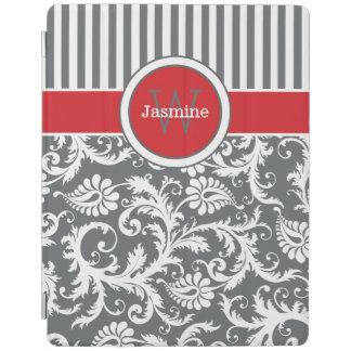 赤い灰色白のストライプ、ダマスク織のiPad 2/3/4カバー iPadスマートカバー