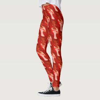 赤い炎の抽象芸術パターン レギンス