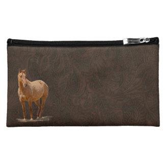 赤い焦げ茶色の馬のイメージのレザールックのウマ科のな芸術 コスメティックバッグ