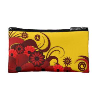 赤い熱帯ハイビスカスの花の小さい化粧品のバッグ コスメティックバッグ