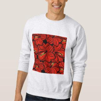 赤い熱帯ハワイのハイビスカスの花のデザイン スウェットシャツ