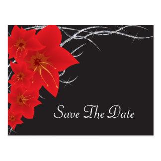 赤い熱帯花及びダイヤモンドのつる植物 ポストカード