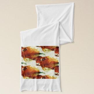 赤い牛絵画 スカーフ