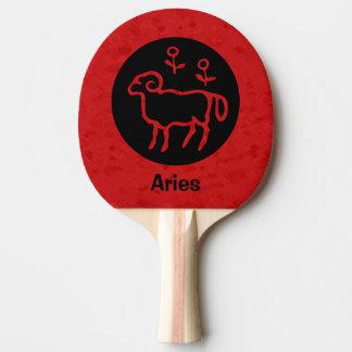 赤い牡羊座の(占星術の)十二宮図の印 ピンポンラケット
