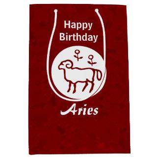 赤い牡羊座の(占星術の)十二宮図の印 ミディアムペーパーバッグ