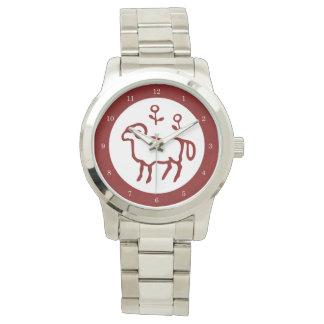 赤い牡羊座の(占星術の)十二宮図の印 腕時計