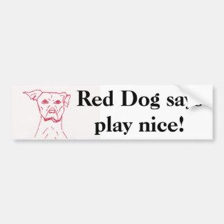 赤い犬は言います バンパーステッカー