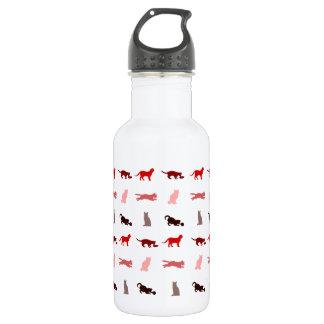 赤い猫パターン ウォーターボトル