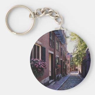 赤い玉石のドングリの通りの花 キーホルダー