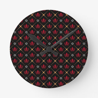 赤い王冠パターン ラウンド壁時計
