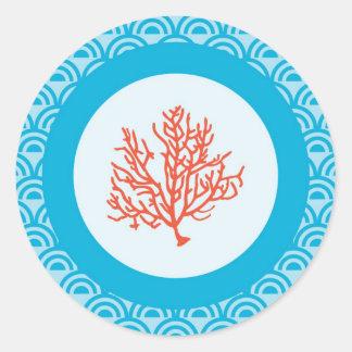 赤い珊瑚の封筒用シールのステッカー 丸型シール