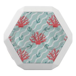 赤い珊瑚パターン1 ホワイトBluetoothスピーカー