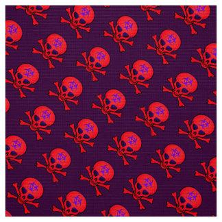 赤い生物学的災害[有害物質]のどくろ印 ファブリック