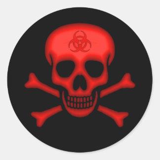 赤い生物学的災害[有害物質]のスカルのステッカー ラウンドシール
