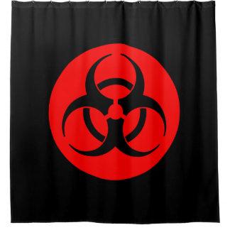赤い生物学的災害[有害物質]の記号 シャワーカーテン