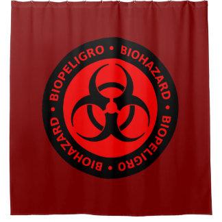 赤い生物学的災害[有害物質]の警告標識 シャワーカーテン