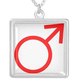 赤い男性の記号 シルバープレートネックレス