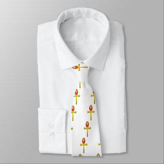 赤い白い護符/金ゴールドAnkh オリジナルネクタイ