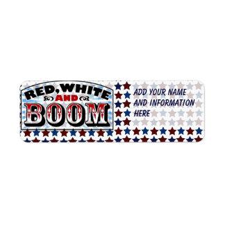 赤い白およびブーム ラベル