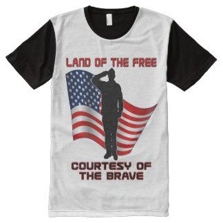 赤い白くおよび青のユニークな退役軍人および旗のTシャツ オールオーバープリントT シャツ