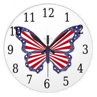 赤い白くおよび青の蝶円形の時計 ラージ壁時計
