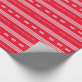 赤い白のストライプのキャンディ・ケーンの休日 ラッピングペーパー