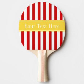 赤い白のストライプのパイナップル名前のモノグラム 卓球ラケット