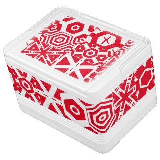 赤い白の抽象芸術のチトーのFave Iglooクーラーボックス