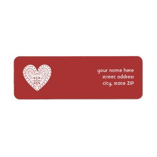 赤い白人のハートの切り出しのバレンタインの宛名ラベル ラベル