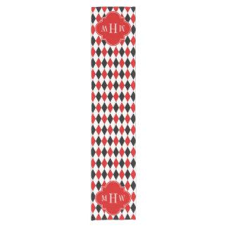 赤い白人の黒い道化師の赤いクローバー3のモノグラム ショートテーブルランナー