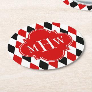 赤い白人の黒い道化師の赤いクローバー3のモノグラム ラウンドペーパーコースター