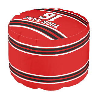 赤い白黒のチームジャージーカスタムな数名前 プーフ