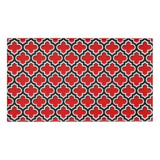赤い白黒のモロッコのクローバーパターン#5DS 名札
