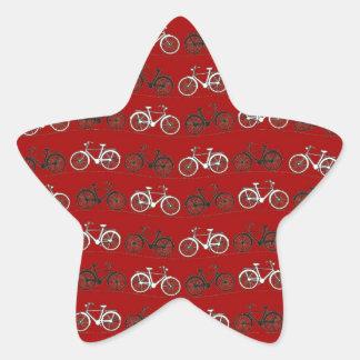 赤い白黒のヴィンテージの自転車のバイクの循環 星シール