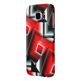 赤い白黒の幾何学的なスタイルの銀河系の箱 SAMSUNG GALAXY S6 ケース