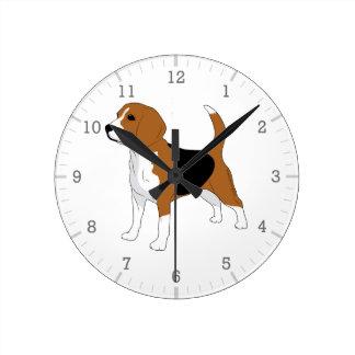 赤い白黒を引いているビーグル犬犬 ラウンド壁時計