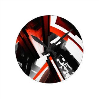赤い白黒抽象芸術 ラウンド壁時計