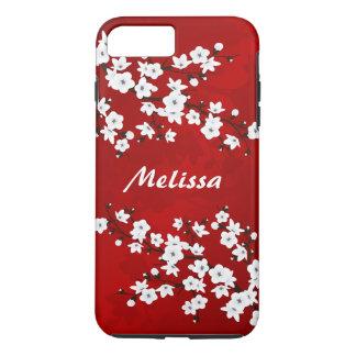 赤い白黒桜のモノグラム iPhone 8 PLUS/7 PLUSケース