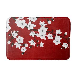 赤い白黒桜 バスマット