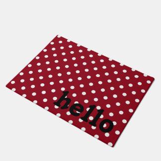 赤い白黒水玉模様 ドアマット