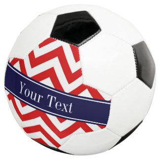 赤い白LGシェブロンの濃紺の名前のモノグラム サッカーボール