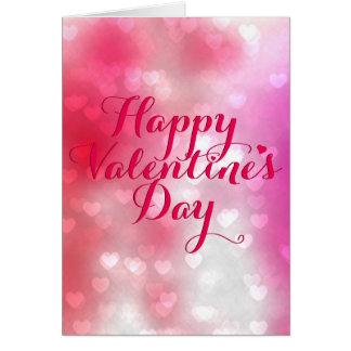 赤い百のハートおよびピンクのバレンタイン カード