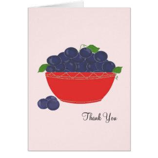 赤い皿のブルーベリーは感謝していしています カード