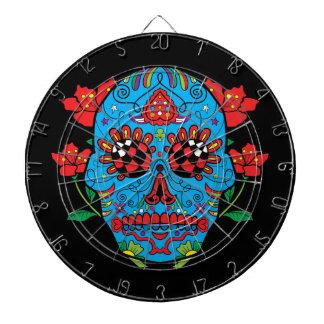 赤い目および花の入れ墨が付いている青い砂糖のスカル ダーツボード