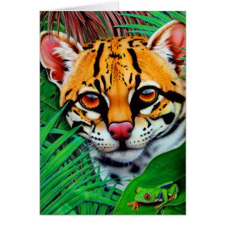 赤い目のアマガエルが付いているジャングルのオセロット カード
